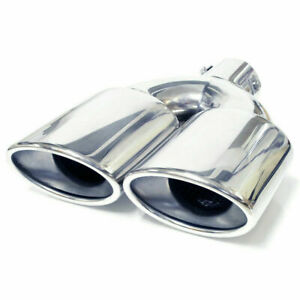 Twin Exhaust Tip Trim Pipe Tail Muffler Chrome For Audi A4 S4 A5 S5 A3 S3