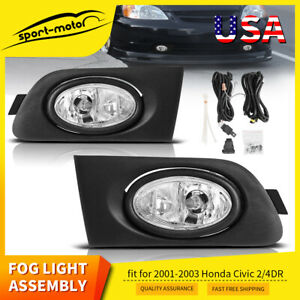 For 2001 2003 Honda Civic 2 4dr Clear Fog Light Bulbs Switch Relay Left right Us
