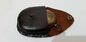 Antique Brass Nautical Push Button Compass 2 Inch With Leather Case