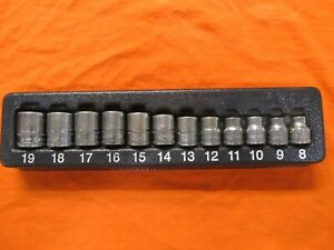 12pc Snap On Fsm191 Fsm81 Metric 19mm 8mm 3 8 Drive 6 Point Socket Set