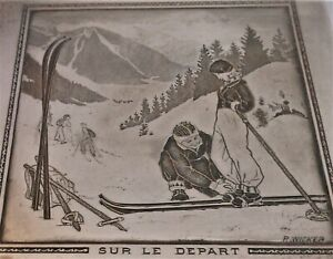 Super French Silver Plate Art Deco Box With Skiers Sur Le Depart Signed Wicker