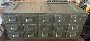 Antique Wood Library File Cabinet Storage Industrial 15 Drawer Shelf Catalog
