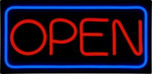 Led Open Sign Bd24 5 Buydirectsign Large 24x12 Red Blue Pvc Foamboard