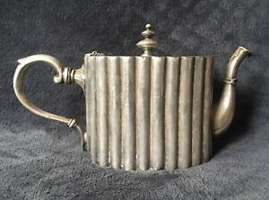 19th Century Antique Georgian Old Sheffield Plate Silver Plated Fluted Teapot