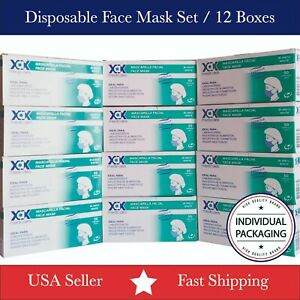 12 Boxes 600 Pcs Disposable Face Mask 3 ply Ear Loop Surgical Medical Dental