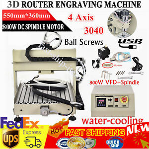 Vfd Usb 4 Axis Cnc 3040 Router Engraver Milling Drill Machine 800w Woodworking