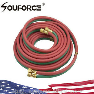 Us 25 50ft 1 4 Twin Welding Hose Brass Connection Tube 300 Psi Oxy acetylene