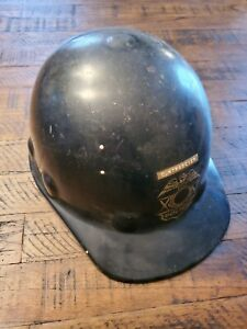 Vintage Fibre Metal Superlectric Hard Hat Mining Industrial Construction Police