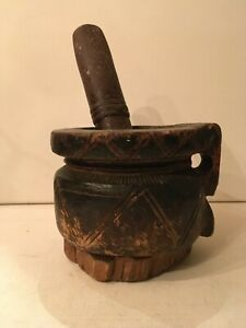 Antique Large Wooden Mortar With Stone Granite Pestle Islamic Art Arabic