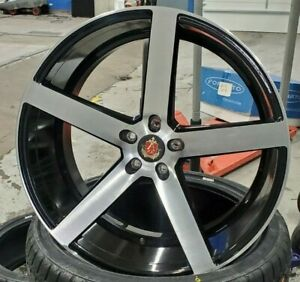 Used 22x10 5 Axe Ex18 Black Machine Single Wheel 5x112 Et38 Can Be Drilled