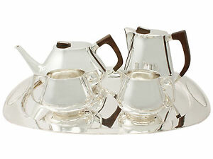 Sterling Silver Four Piece Tea Coffee Set With Tray Design Style Vintage