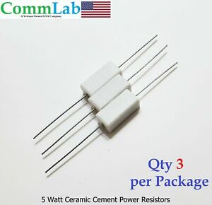 220 Ohm 5 Watt 5w Ceramic Cement Power Resistor 3 Pieces
