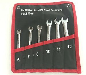 Flexible Head Ratcheting Wrench Combination Spanner Tool Set Alloy Steel Spanner