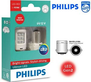 Philips P21w Ba15s Ultinon Stop Rear Fog Red Led Bulb 11498ulrx2 Car Light 12v