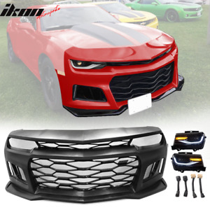 Fits 10 13 Chevy Camaro Zl1 Style Front Bumper Cover Projector Headlights