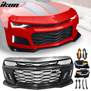 Fits 10 13 Chevy Camaro Zl1 Style Front Bumper Cover Headlight Drl Lights