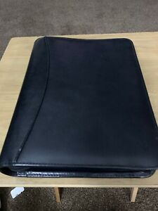 Franklin Covey Black Aniline Leather Binder W Zipper Closer 7 1 5 Cl12215