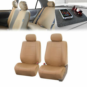Pu Leather Front Bucket Pair Beige For Auto W Dash Pad Auto Car Suv Truck Van