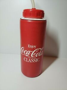 Vintage 1988 Coca Cola Water Bottle With Straw