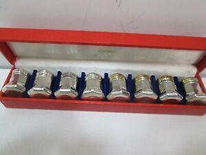 Vintage Set Of Eight 8 Cartier Sterling Silver Salt Pepper Shakers
