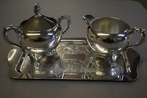 Vintage Silver Plated Sugar Creamer Tray Set F B Rogers