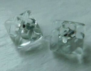 2 Diminutive Tiny Antique Clear Glass Charmstring Buttons Lot Square 10mm
