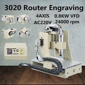 3020t Cnc Router 800w Vfd Engraver Desktop 4 Axis Mill Drill Cutter Machine New