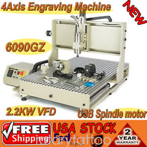 New 4 Axis Cnc 6090 Usb 2 2kw Spindle Motor Vfd Milling Engraving Machine 110v