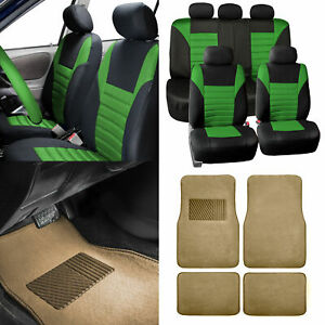 Green Car Seat Covers For Auto Car Suv With Beige Carpet Floor Mats