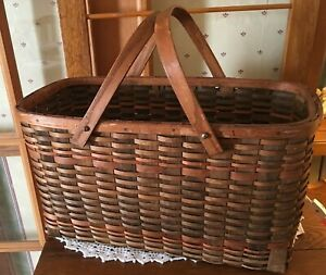 Antique Primitive Woven Two Handle Gathering Basket Farm House