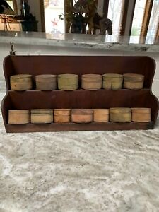 Antique Primitive Tiny Painted Pantry Boxes Spice Cabinet Rack