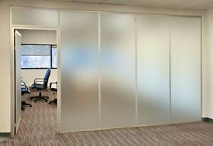 Cgp Office Partitions Frosted Glass Aluminum Wall 14 x9 W door Clear Anodized
