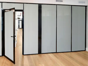 Cgp Office Partitions Frosted Glass Aluminum Wall 10 x9 W door Black Color