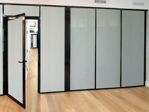 Cgp Office Partitions Frosted Glass Aluminum Wall 15 x9 W door Black Color