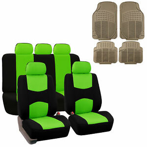 Car Seat Covers For Auto With W Beige Rubber Floor Mat 5headrests Green