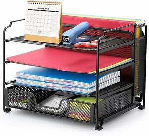 4 Trays Mesh Office Supplies Desk Organizer Vertical Upright Section Black