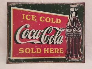 Ice Cold Coca Cola Sold Here Metal Tin Sign Wall Decor Man Cave Advertisement