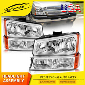 For 2003 2006 Chevy Silverado Chrome Housing Amber Side Headlights Lamp Assembly