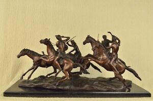 Bronze Sculpture Statue American 34 L Old Dragoons 1850 Solid F Remington Large
