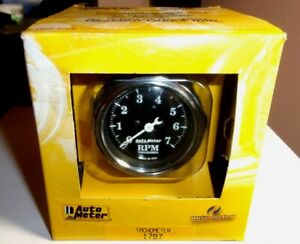Autometer 1797 Old Tyme Black Series 2 1 16 Mini Tachometer Gauge 7k Rpm In dash