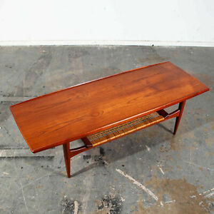 Mid Century Danish Modern Coffee Table Moreddi Kristensen Thomassen Teak Cane Nm