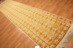 3 6 X 14 1 Signed Runner Hand Knotted 100 Wool Area Rug Beige