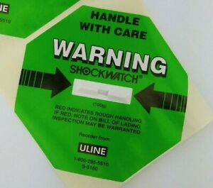 Green U line Shockwatch Warning Label S 5160 100g Handle With Care
