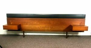 Mid Century Danish Teak Queen Size Bed Headboard W 2 Drawer