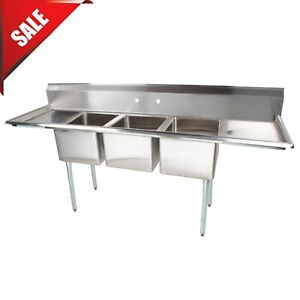 91 3 compartment Stainless Steel Commercial Pot And Pan Sink With 2 Drainboards
