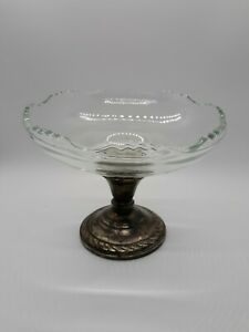 Amston Vintage Weighted Sterling Silver And Glass Compote 5 Tall Very Nice