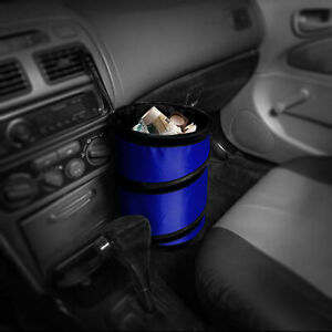 Auto Car Trash Can Portable Collapsible Waterproof Small Blue