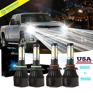 For 2003 2006 Chevy Tahoe Silverado 1500 4side Led Head Lamp Bulbs Combo 4x 6k