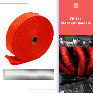 Red 2 50ft Roll Exhaust Wrap Manifold Header Pipe Heat Wrap Tape W 10 Ties Kit