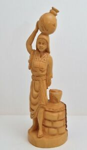 Vintage Omar Bakri Hand Carved Wooden Figurine Woman With Waterpot